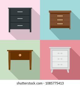 Nightstand bedside icons set. Flat illustration of 4 nightstand bedside vector icons for web
