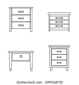 Nightstand bedside icons set. Outline illustration of 4 nightstand bedside vector icons for web