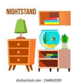Nightstand, Bedside Tables, Desks Cartoon Vector Set. Nightstand, Shelf With Books Isolated Clipart. Fishbowl, Home Potted Plant, Succulent. Bedroom, Living Room Furniture Flat Illustration