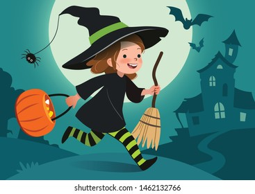 Nighttime Halloween scene vector illustration. Cute happy little girl dressed up as witch runs with bucket of candy. Full moon, haunted house, forest cemetery in the background. Flyer, poster, banner.