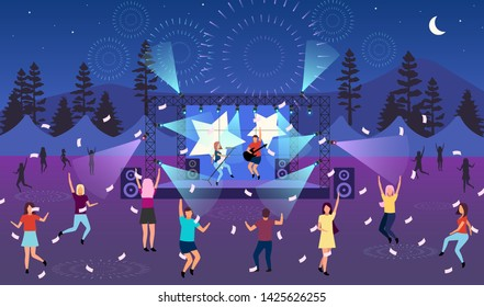 Nighttime music festival flat vector illustration. Open air live performance. Rock, pop musician concert, party in park, camp. Summertime fun outdoor activity. Dancing cartoon characters