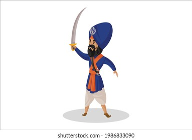 Nihang sardar is holding sword in hand. Vector graphic illustration. Individually on a white background.