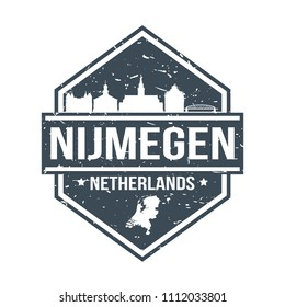 Nijmegen Netherlands Travel Stamp Icon Skyline City Design Tourism