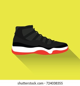 Nike Air Jordan 11. Vector drawn sport shoes, sneakers for summer. Vector stock illustration. Sport wear for men and women. Flat design. Vector illustration.
