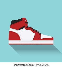 Nike Air Jordan. Sneaker. Trainer. Flat design. Vector illustration.