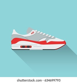 Nike Airmax. Sneaker. Vector stock illustration. Sport wear for men and women. Flat design.