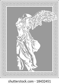 Nike illustration on decorative Greek frame. Ancient art vector template.
