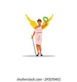 Nike sign. The Mythological Greek goddess of victory. Vector Illustration. Branding Identity Corporate logo design template Isolated on a white background
