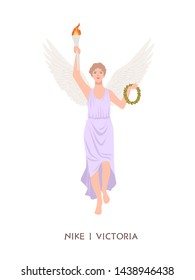 Nike or Victoria - deity or goddess of victory from ancient Greek and Roman religion or mythology. Female mythological character with wings holding torch and wreath. Flat cartoon vector illustration.