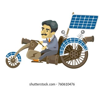 Nikola Tesla goes to mobile. cartoon character. vector
