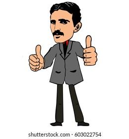 Nikola Tesla. Vector illustration. Tesla shows thumbs up