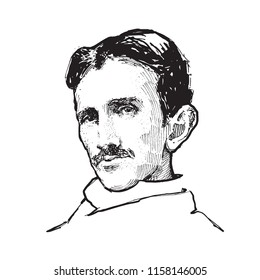 Nikola Tesla vector portrait illustration. One of the most famous Serbian and world famous inventors and scientists in the fields of physics, electrical engineering and radio engineering.