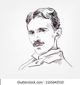 Nikola Tesla vector sketch portrait