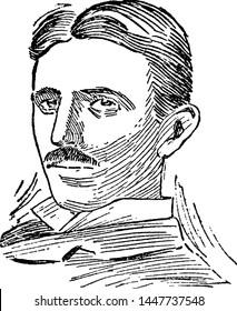 Nikola Tesla, vintage engraved illustration