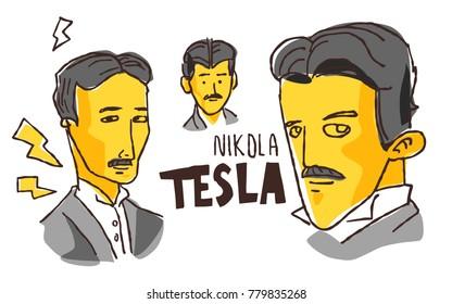 Nikola Tesla in yellow and black sketch. December 22 2017