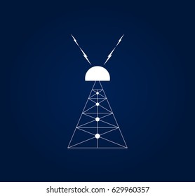 Nikola Tesla's invention meant to produce wireless energy. Vector illustration of Wardenclyffe Tower or Tesla Tower, built by Nikola Tesla in Shoreham, New York. Early experimental station. Clip art.