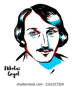 Nikolai Gogol engraved vector portrait with ink contours. Russian dramatist of Ukrainian origin.