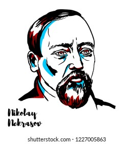 Nikolay Nekrasov engraved vector portrait with ink contours. Russian poet, writer, critic and publisher.