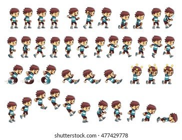 Nimble  Boy Game Sprites. Suitable for side scrolling, action, adventure, and endless runner game.