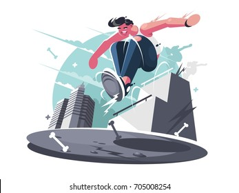 Nimble guy street racer. City sports parkour for young people. Vector illustration