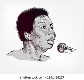 Nina Simone vector sketch illustration portrait face
