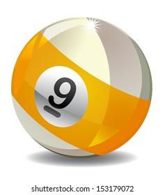 Nine 9 Ball on white background