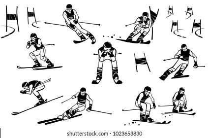 Nine athletes of skiers compete in giant slalom. And also parallel slalom and downhill
