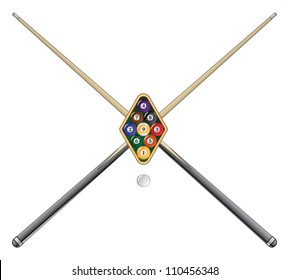 Nine Ball with Cue Sticks is an illustration of a rack of nine ball pool or billiard balls with crossed pool or cue sticks.