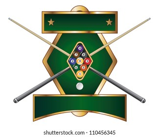 Nine Ball Emblem Design is an illustration of a nine ball pool or billiards design that includes racked nine ball and crossed pool or cue sticks.