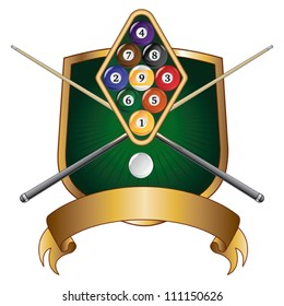 Nine Ball Emblem Design is an illustration of a nine ball pool or billiards design that includes racked nine ball, crossed pool or cue sticks, banner and shield.