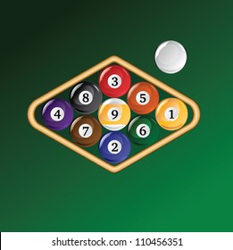 Nine Ball Racked is an illustration of a rack of pool or billiard balls for a nine ball game.