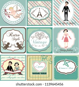 nine beautiful vintage cards with love and Paris theme