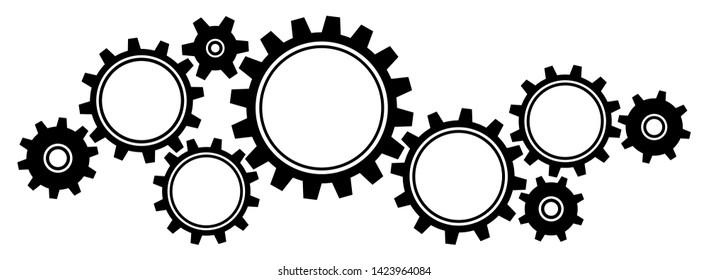 Nine Big And Little Gears Border Graphics Black Horizontal