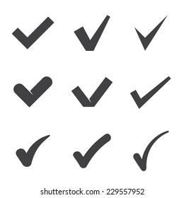 Nine black check mark icons. Vector illustration