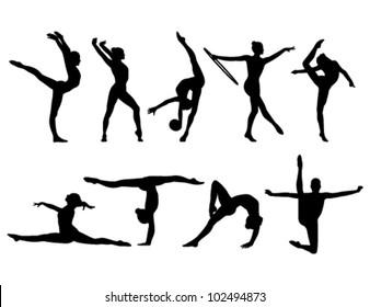 nine black figures of gymnasts on a white background