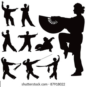 Nine black vector silhouettes of people practicing Tai Chi