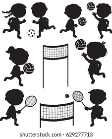 Nine boys and girls black vector silhouettes