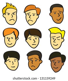 Nine cartoon faces of young men with various facial expressions.