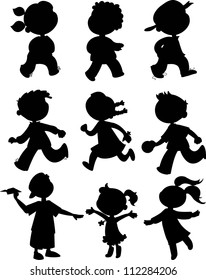 Nine children black silhouettes. Boy and girls walking, running and playing