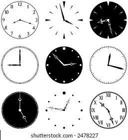 Nine Clock Faces and Hands, faces and hands are separate elements, mix and match as you like.