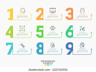 Nine colorful numbers or figures and rectangular elements or cards with place for text. Infographic design template. Creative vector illustration for business options visualization, website menu.