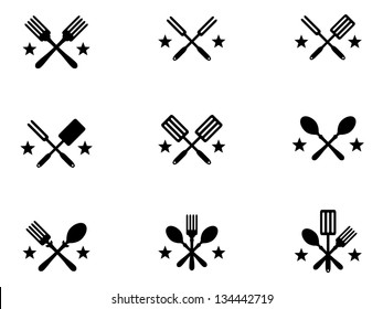 Nine Crossing Cooking Icons with Stars for Menus.