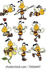 Nine cute cartoon honeybees. All in separate layers for easy editing.