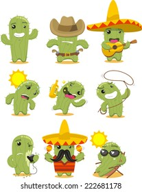 Nine different cactus in different situations vector illustration.