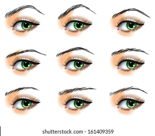 Nine  different eyebrows set