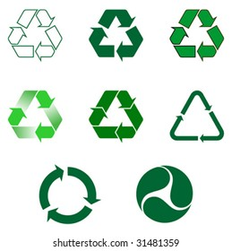 Nine different recycling symbol