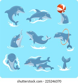 Nine Dolphin set collection, playing with ball, with red ring, jumping, two dolphins, and swimming vector illustration.