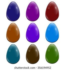 Nine Easter eggs. Realistic eggs. Dark glossy color. Bright lighting. Easter holiday. Vector Illustration.