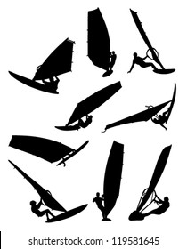 nine figures of surfers on a white background
