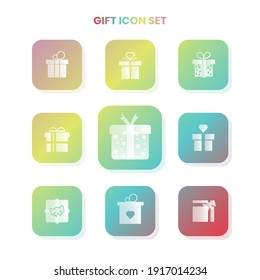 Nine GIFT icons in one set with white color on gradient and white background. Vector illustration